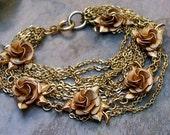 Summer Bridal Gold Rose Flower Floral Bracelet, Vintage Recycled