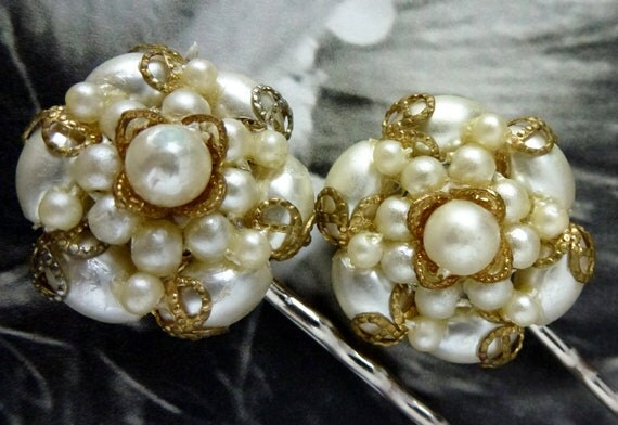 Romantic Winter Bridal Pearl Filigree Hair Pins, Vintage Recycled