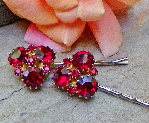 Vintage Valentine Weiss Red Rhinestone Bobby Pins