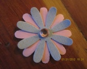 30 1inch pink and blue flower confetti with rhinestone in the middle