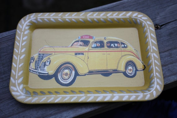 Vintage 1960s Taxi Tip Tray Tin, Great Vintage Patina, Excellent Condition