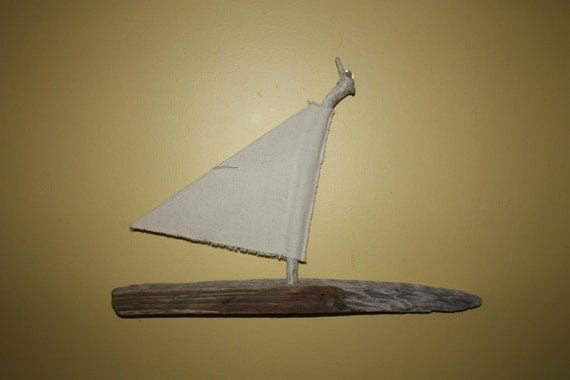Wood Sailboat Wall Decor : Simple wall hanging drift wood sailboat with by