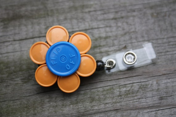 Upcycled/Recycled Retractable Flower ID/Name Badge Holder Made From Flip Off Caps From Medication Vials
