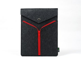 Felt iPad 1 2 3 4 Sleeve New iPad Case Bag Holder Wallet Handmade Customized Snap Button Zipper DecorationE1129