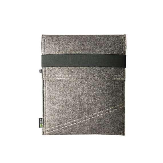 Grey & Black Vertical Felt iPad Sleeve iPad Case iPad Holder iPad Skin iPad Bag With Elastic Strap :E555-MGra01/DGra01