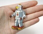 Retro Robot Wooden Brooch