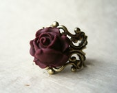 Plum Rose Ring, Handmade Polymer Clay Flower Ring, Adjustable Ring, Filigree Ring, Vintage Inspired. Deep Wine Rose.