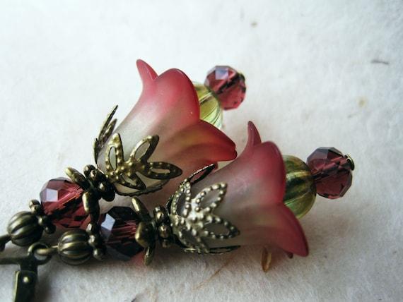 Lucite Flower Earrings. Handmade Woodland Faerie Earrings. Sage Green Wine Earrings. Amethyst and Evergreen Jewelry. FDE7