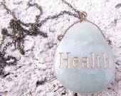 Precious Stone Necklace, Gemstone Pendant, Spiritual Jewelry, Healing Stone, Engraving, Mint Green Jewelry, Sea Foam, Health Stone Necklace