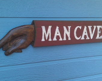 MAN CAVE SIGN Personlized, hand carved, vintage wood signs.
