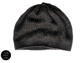 Beanie black galaxy colorful dots knitted hat theknitkid