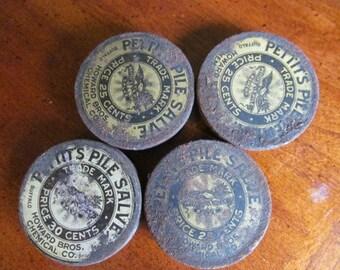 Vintage 1900s Pettit's Pile Salve Tins