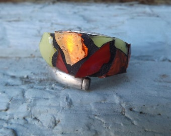 Mosaic Art Ring/ Spoon Ring/ Glass Ring