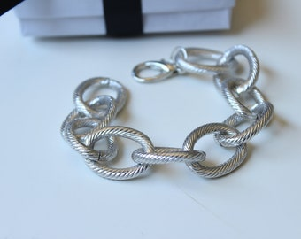 Silver Chunky Textured Chain Bracelet
