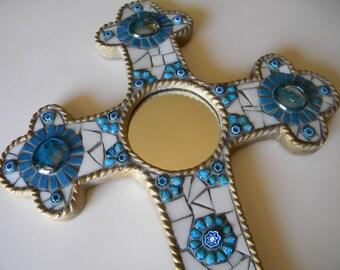 Turquoise & White Gold Mirror Mosaic Cross