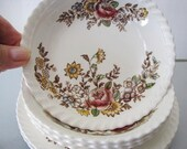 "1950s - Windsor Ware Johnson Bros England - ""The Marquis"" Pattern - F.B & C - Set of 4 each Saucer and Dessert Dishes"