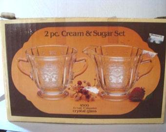 1970s reproduction of 1930s Depression Glass - Creamer and Sugar Dish - Collectible Glassware