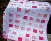 Pink and White Ticker Tape Baby or Lap Quilt