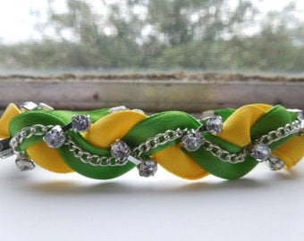 Green and Yellow Braided Ribbon & Chain Bracelet