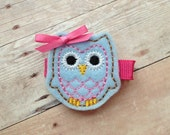 Blue and Pink Owl Hair Clip