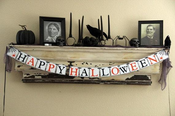 Halloween Banner Decoration - Happy Halloween - Black and Orange - Photo Prop or Decoration