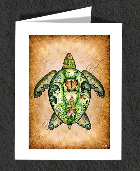 "Sea Turtle ""Garden Sea Turtle"" Note Card"