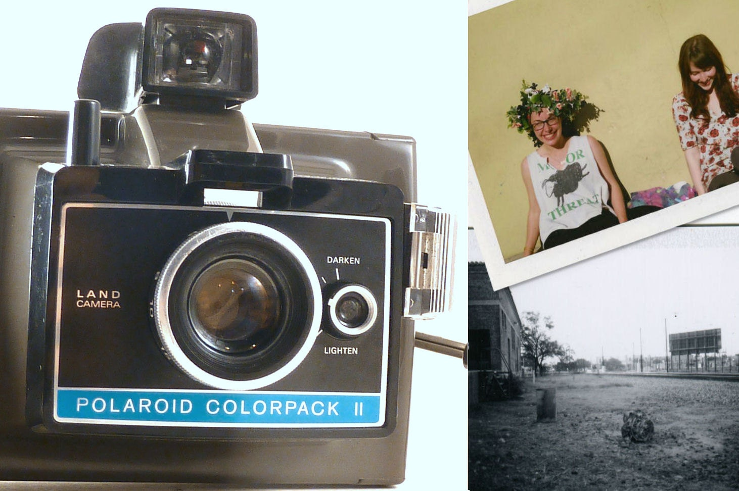 working polaroid colorpack ii instant photo camera takes. Black Bedroom Furniture Sets. Home Design Ideas