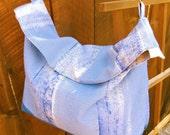 Tote bag diaper bag canvas and linen crossbody shopping bag beach bag Blue canvas tote