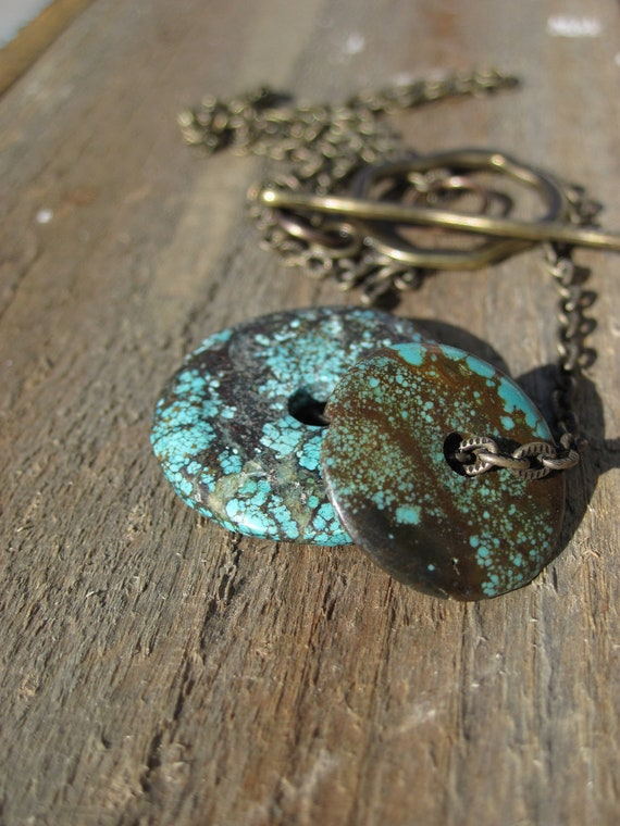Simply Turquoise Necklace- Brass and Turquosie Bohemian neckwear