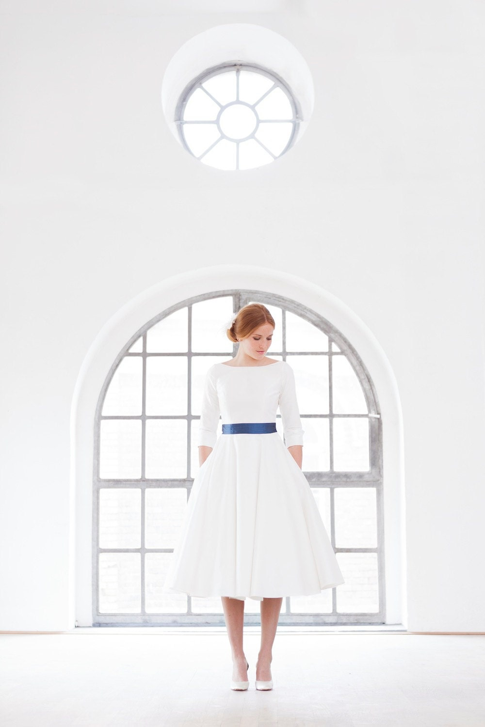 Items Similar To 50s Tea Length Wedding Dress With Petticoat And Blue