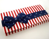 Red and White Striped Bow Tie Clutch with Navy Anchor accents