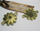 Metal Sunflower Charms, Sun Flower Bracelet Necklace Connector, Antique Bronze Findings, Wholesale, 5 pcs - Jewelry Supplies by PengWorkshop