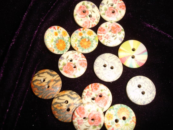 Flowers,  Rainbow....great 1/2 inch buttons Painted on wood 10 pieces