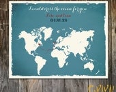World Map Custom Wedding Print Destination Wedding Gift  Memento Couple print Signature Guest Books I would cross the ocean for you