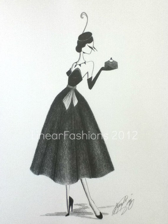 Fashion Illustration Art 1950s Cocktail Dress and Feather Hat Decor