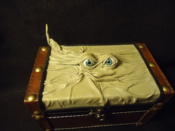 Leather Box Desk Organizer Storage Desk Accessory Christmas Gift OOAK Leather Box Handmade Stocking Stuffer