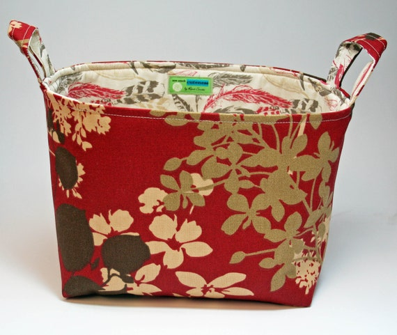 Medium Fabric Basket - Organization Storage Bin - Books, Supplies, Gifts, Baby. Custom item - choose your fabrics