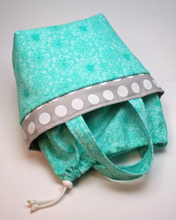 Stylish Insulated Lunch Tote Bag / Purse / Bento Box - READY to ship - Drawstring Closure - Aqua - Gray