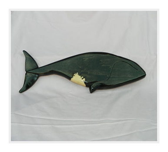Right Whale Wood Carving Wall Mount OOAK
