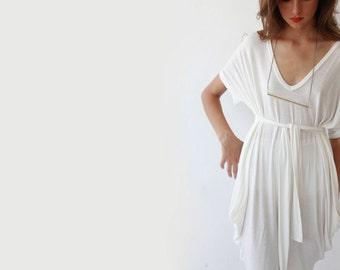 Oversize knit white tunic, Casual white knit dress, Beach cover up dress 1005.
