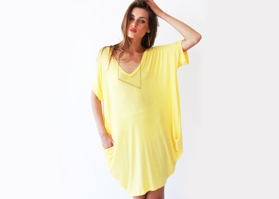Yellow mini dress , Oversize tunic.