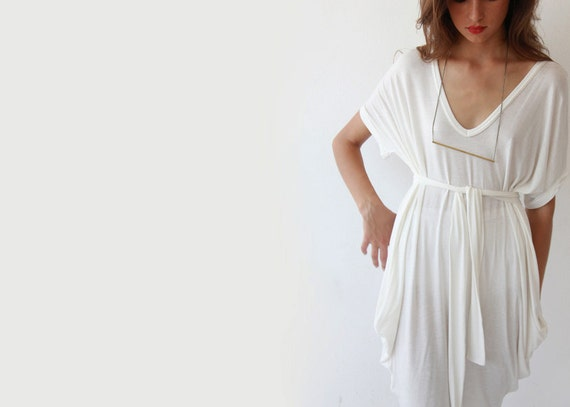 Oversize knit white tunic, Casual white knit dress, Beach cover up dress