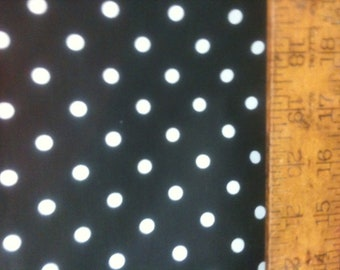 "Poly Cotton Small White Polka Dot Print on Black Background Fabric 60"" Fabric by the Yard - 1 Yard"