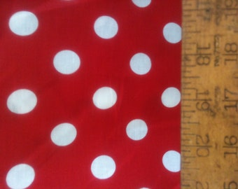 "Poly Cotton Large White Polka Dot Print on Red Background Fabric 60"" Fabric by the Yard - 1 Yard"