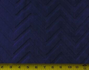 Minky Snuggle Embossed Chevron Zig Zag Navy 58 Inch Fabric by the Yard, 1 yard.