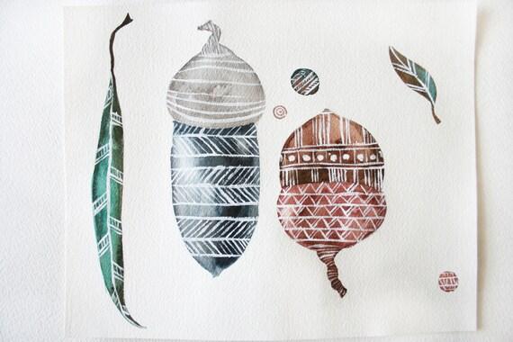Watercolor Acorn Print- Original Painting- Watercolor Nature Print