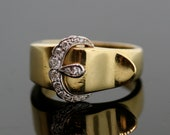 "Vintage 18K Yellow Gold and Diamond Buckle Ring by ""Kwiat"""