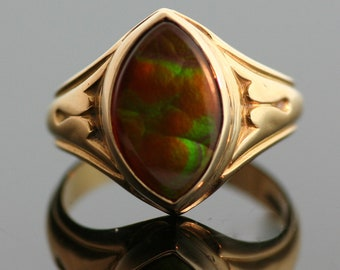 Antique Ring - Antique 18k Yellow Gold Fire Agate Ring