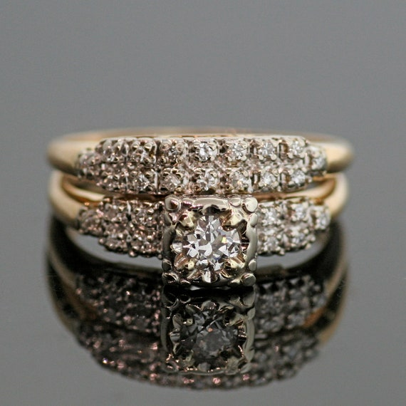 Vintage Diamond Wedding Ring Set By TheCopperCanary On Etsy