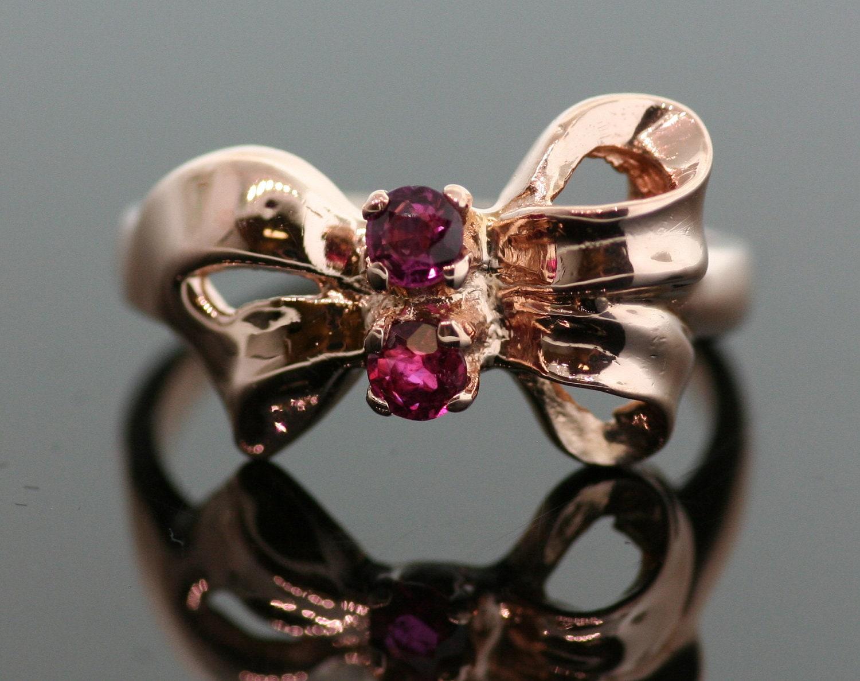Vintage Ruby Bow Ring 14k Rose Gold